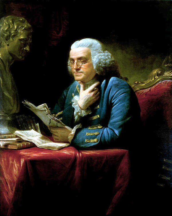 Benjamin Franklin Print featuring the painting Ben Franklin by War Is Hell Store