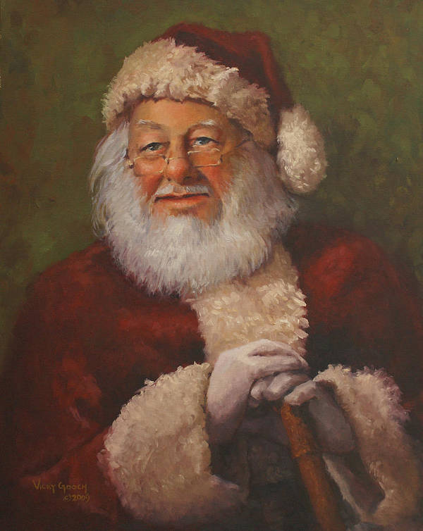Portrait Print featuring the painting Burts Santa by Vicky Gooch