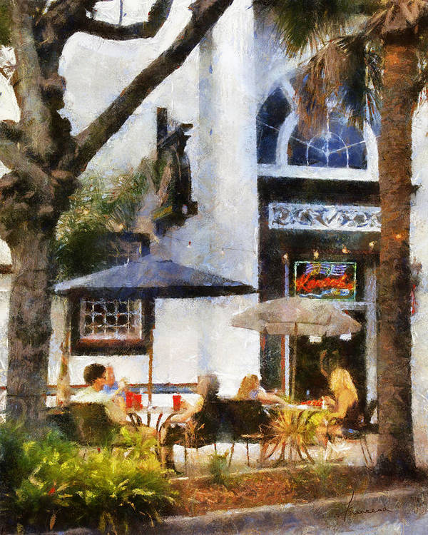 Dine Print featuring the digital art Cafe by Francesa Miller