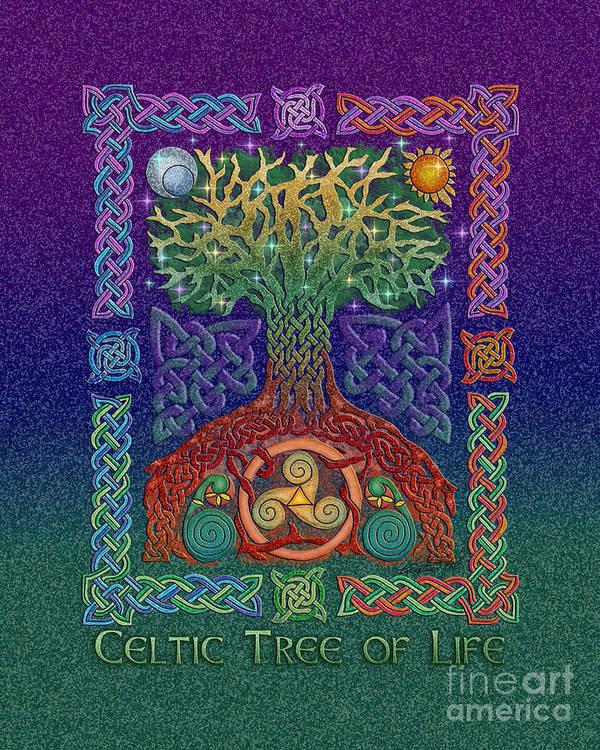 Artoffoxvox Print featuring the mixed media Celtic Tree Of Life by Kristen Fox