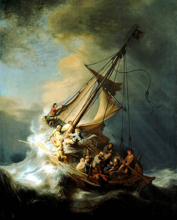 Christ In Storm Print featuring the painting Christ In The Storm by Rembrandt
