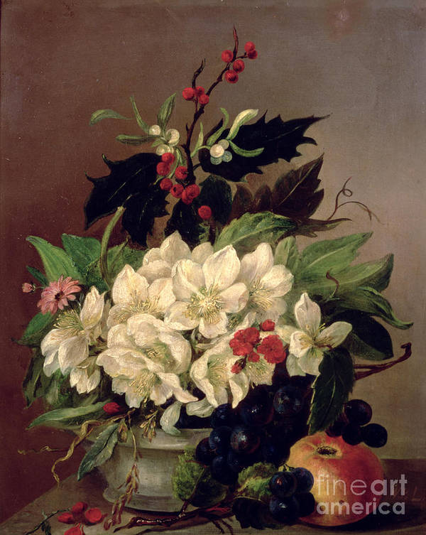 Christmas Print featuring the painting Christmas Roses by Willem van Leen