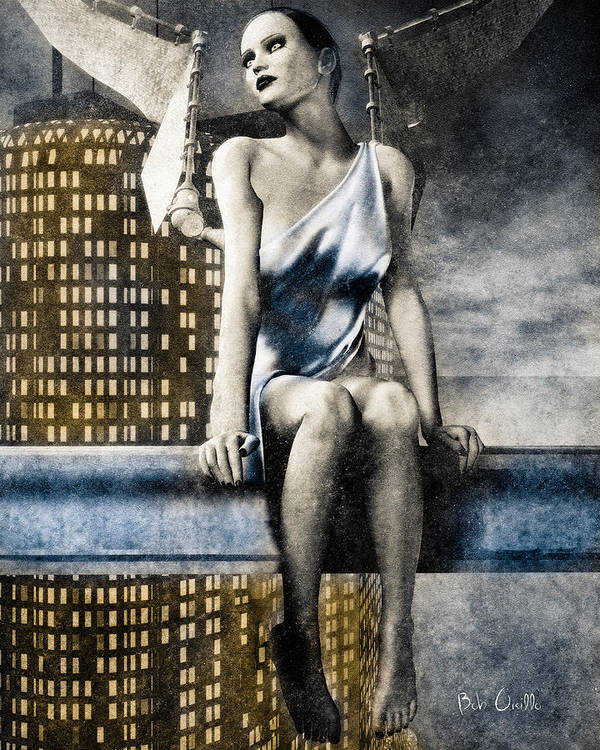 Angel Print featuring the digital art City Angel -2 by Bob Orsillo