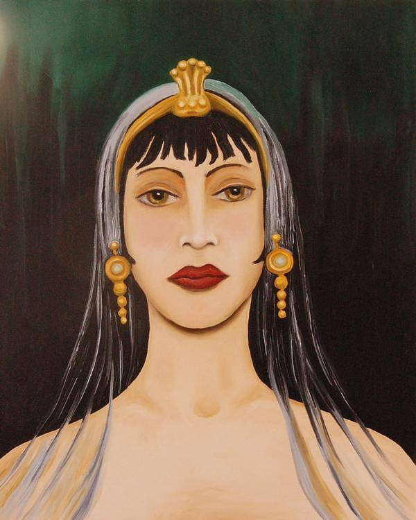 Tiara Print featuring the painting Cleo by Leah Saulnier The Painting Maniac