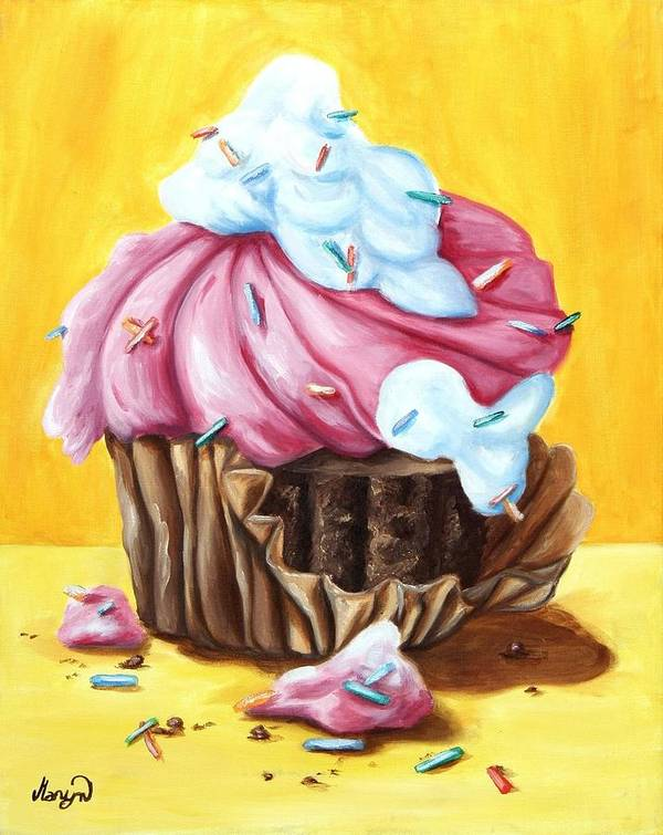 Cupcake Print featuring the painting Cupcake by Maryn Crawford