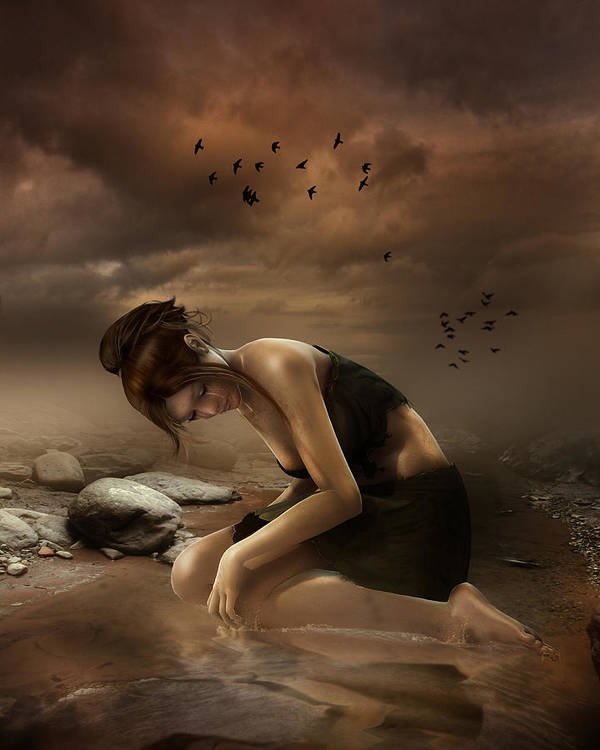 Sadness Print featuring the digital art Desolation by Mary Hood