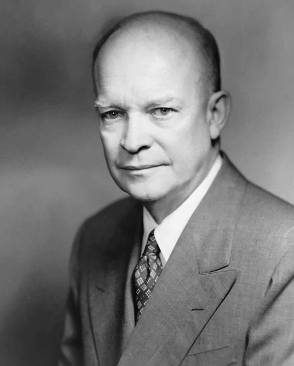 Eisenhower Print featuring the painting Dwight Eisenhower by War Is Hell Store
