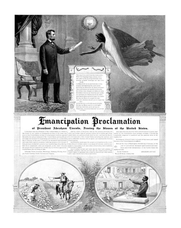 Emancipation Proclamation Print featuring the drawing Emancipation Proclamation by War Is Hell Store