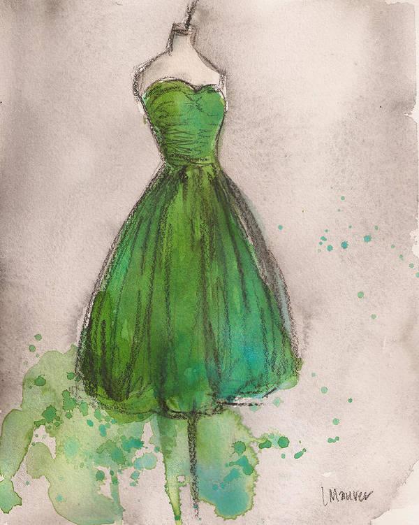 Green Print featuring the painting Green Strapless Dress by Lauren Maurer