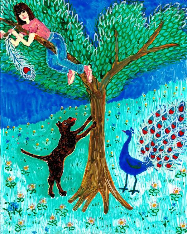 Sue Burgess Print featuring the painting Guard Dog And Guard Peacock by Sushila Burgess