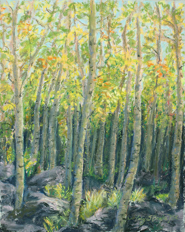 Aspens Print featuring the painting Into The Aspens by Mary Benke