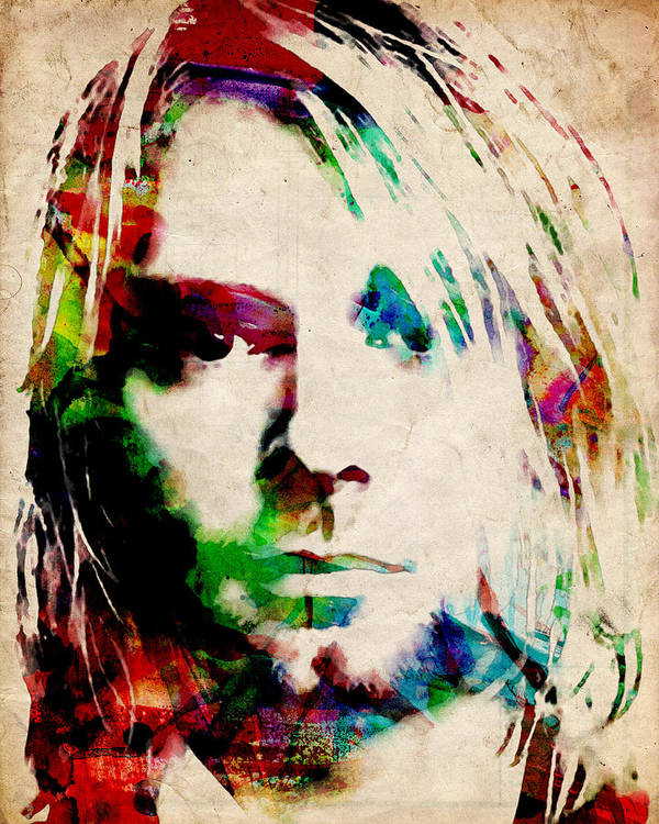 Kurt Cobain Print featuring the painting Kurt Cobain Urban Watercolor by Michael Tompsett