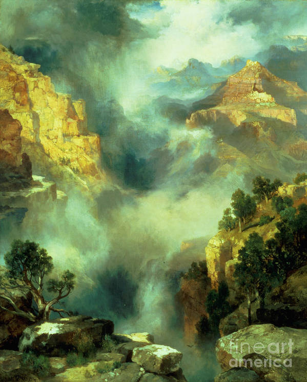 Thomas Print featuring the painting Mist In The Canyon by Thomas Moran
