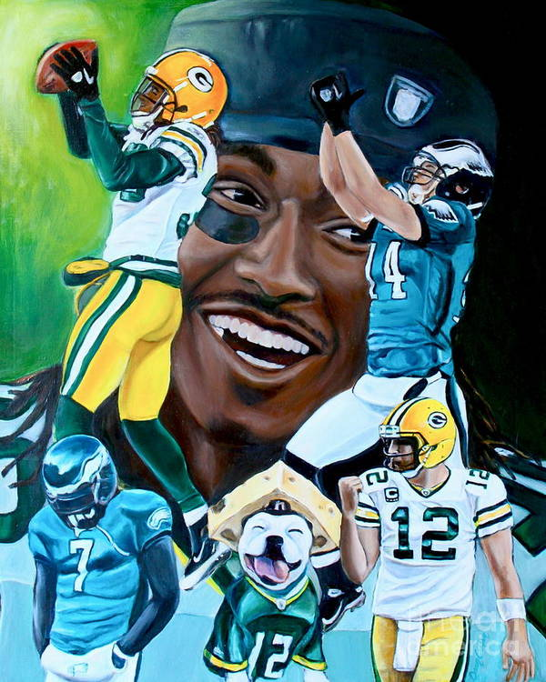 Football Print featuring the painting Packers Glorious Moments by Dawn Graham