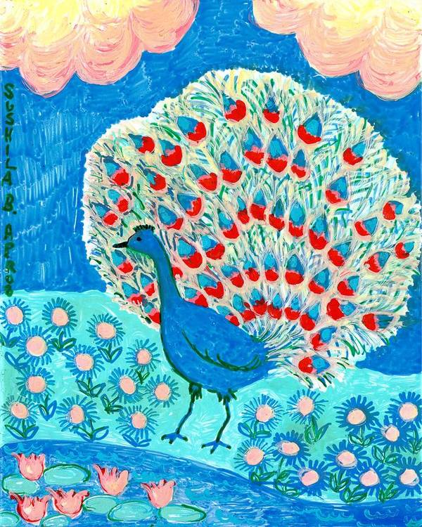 Sue Burgess Print featuring the painting Peacock And Lily Pond by Sushila Burgess