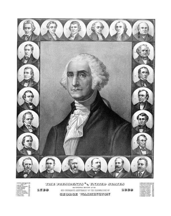 Presidents Print featuring the drawing Presidents Of The United States 1789-1889 by War Is Hell Store