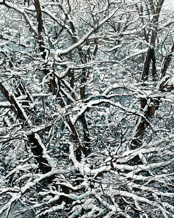 Snow Print featuring the painting Snow Tree by Nadi Spencer