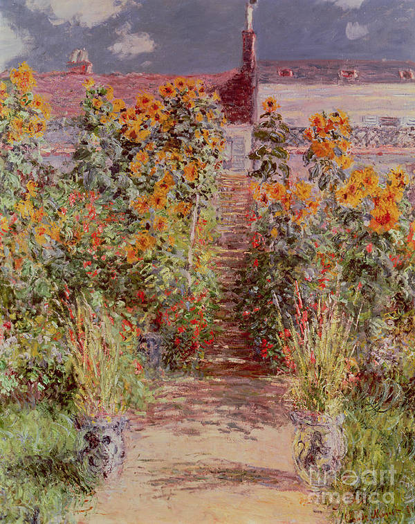 The Garden At Vetheuil Print featuring the painting The Garden At Vetheuil by Claude Monet