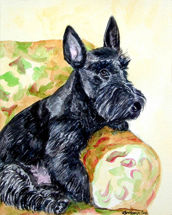 Scottish Terrier Print featuring the painting The Perfect Guest - Scottish Terrier by Lyn Cook