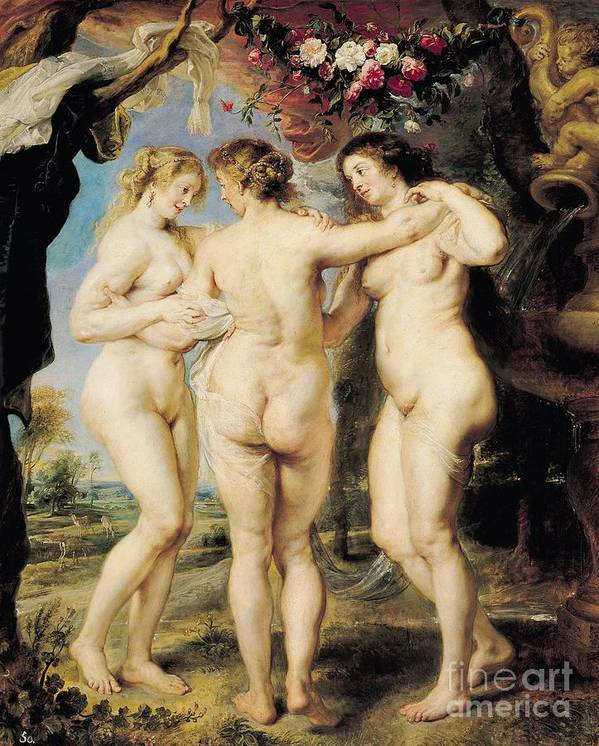 The Print featuring the painting The Three Graces by Peter Paul Rubens