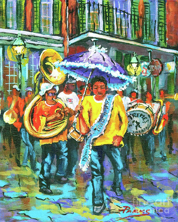 Treme Print featuring the painting Treme Brass Band by Dianne Parks