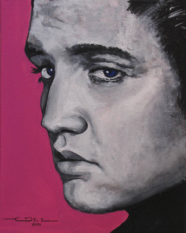 Elvis Presley Print featuring the painting Trouble - Born Standing Up by Eric Dee