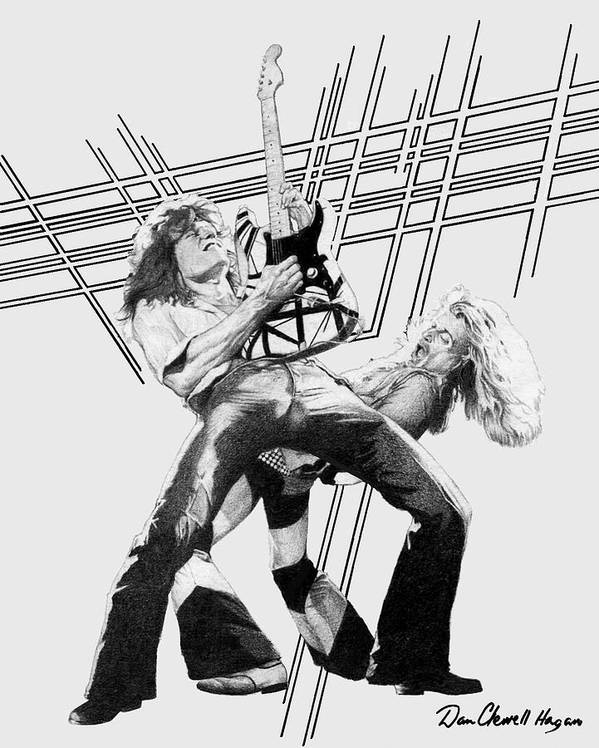 Music Print featuring the drawing Vanhalen by Dan Clewell
