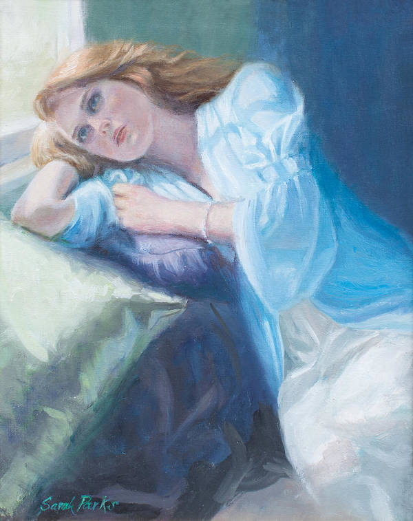Girl Print featuring the painting Wistful by Sarah Parks