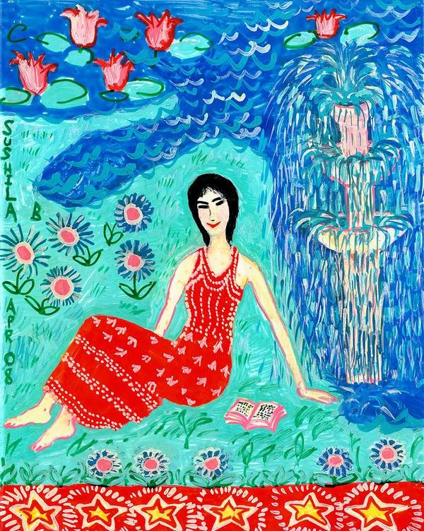 Sue Burgess Print featuring the painting Woman Reading Beside Fountain by Sushila Burgess