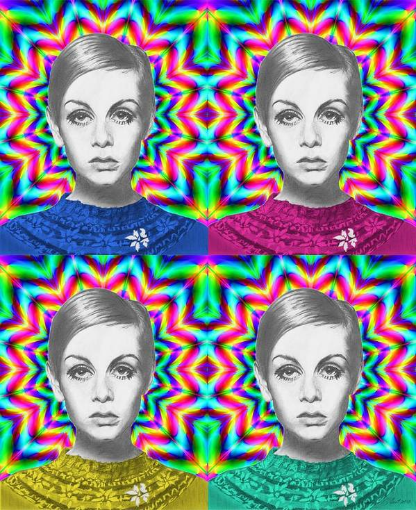 Twiggy Print featuring the drawing Twiggy by Alexander Gilbert
