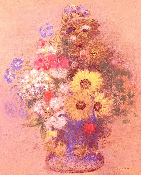 Still Life; Flower Print featuring the painting Vase Of Flowers by Odilon Redon