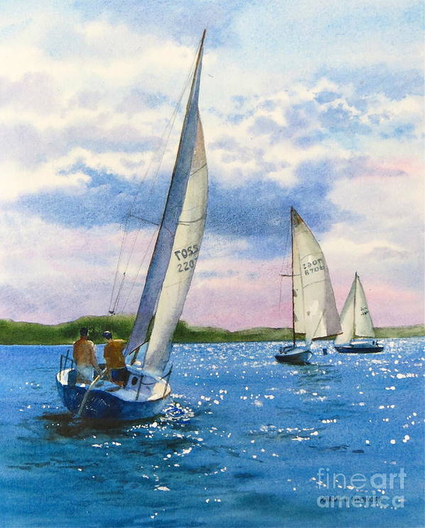 Clouds Print featuring the painting Afternoon Sail by Karol Wyckoff