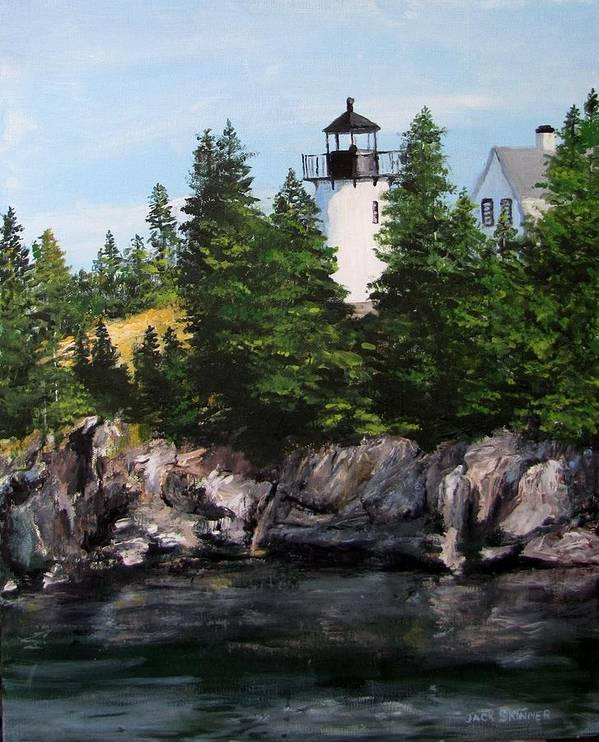 Lighthouse Print featuring the painting Bear Island Lighthouse by Jack Skinner