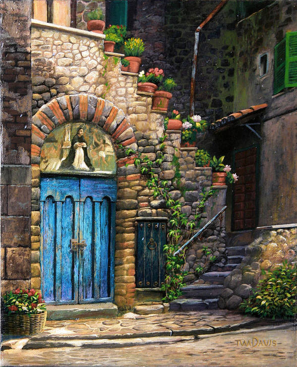 Italy Print featuring the painting Blue Door by Tim Davis