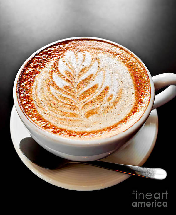 Coffee Print featuring the photograph Coffee Latte With Foam Art by Elena Elisseeva