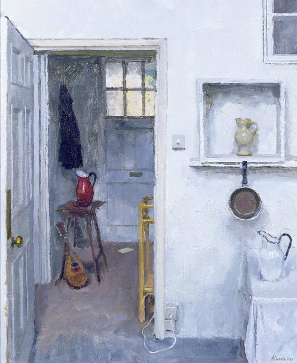Saucepan; Guitar; Lute; Pitcher; Ewer; Kitchen; Pantry; Domestic; Back Door; Socket; Prise Electrique Print featuring the painting Interior With Red Jug by Charles E Hardaker