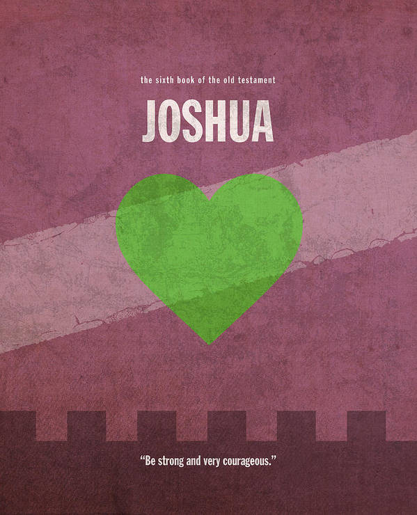 Joshua Print featuring the mixed media Joshua Books Of The Bible Series Old Testament Minimal Poster Art Number 6 by Design Turnpike