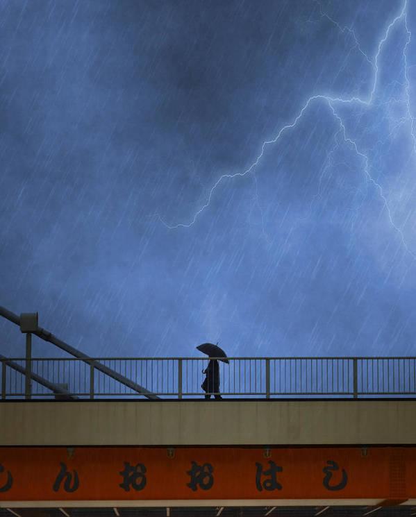 Bridge Print featuring the photograph Strolling In The Rain by Juli Scalzi