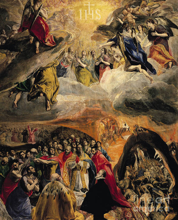 Doge Of Venice; Pope; Last Judgement; Saved Souls; Angels; Three Allies; Ihs; Dream Of Philip Print featuring the painting The Adoration Of The Name Of Jesus by El Greco Domenico Theotocopuli