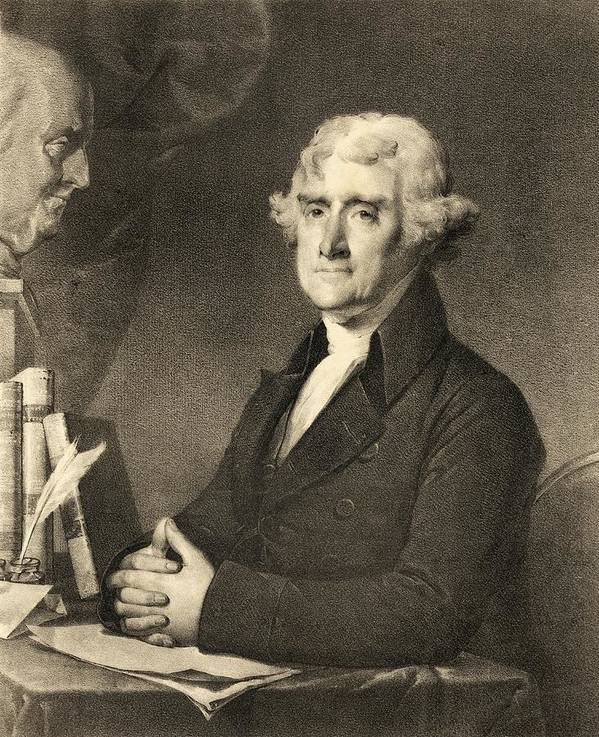Thomas Jefferson Print featuring the drawing Thomas Jefferson by American School