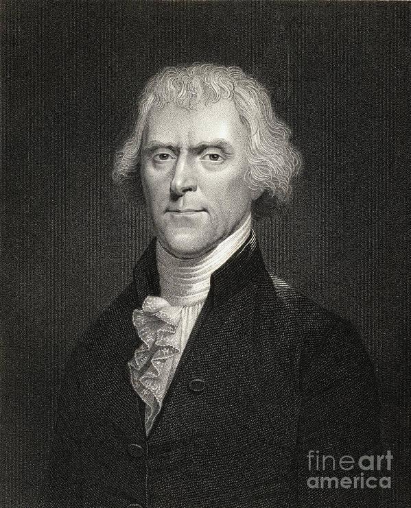 Thomas Jefferson Print featuring the drawing Thomas Jefferson by English School