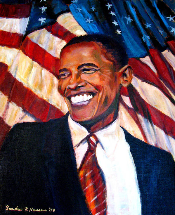 Barack Print featuring the painting Yes We Can by Art Nomad Sandra Hansen