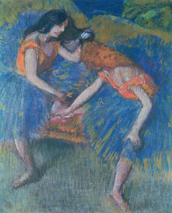 Ballet; Ballerinas; Ballerina Print featuring the pastel Two Dancers by Edgar Degas