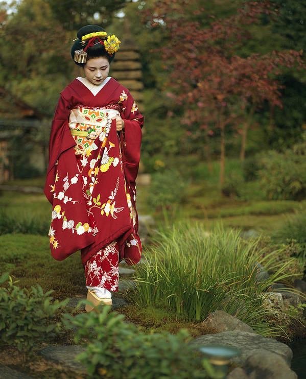 Entertainers Print featuring the photograph Kimono-clad Geisha In A Park by Justin Guariglia