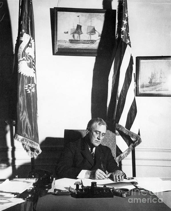 History Print featuring the photograph Franklin D. Roosevelt, 32nd American by Omikron