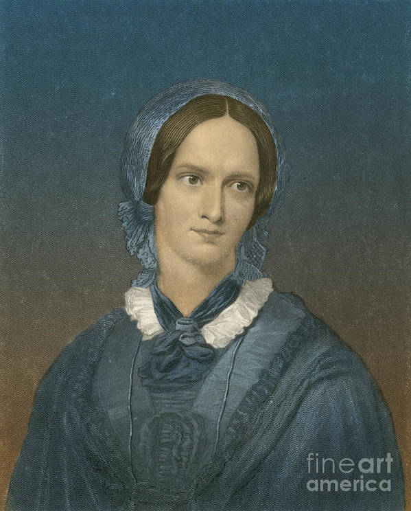 Charlotte Bronte Print featuring the photograph Charlotte Bronte, English Author by Photo Researchers