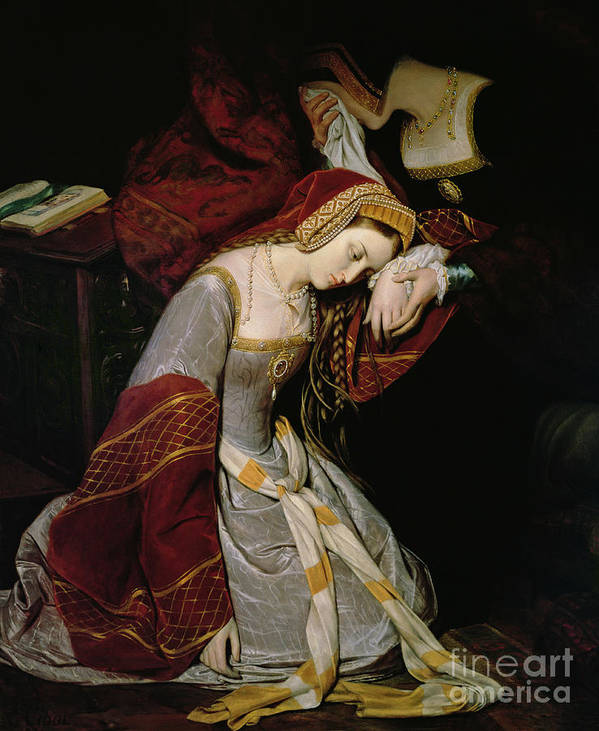 Anne Print featuring the painting Anne Boleyn In The Tower by Edouard Cibot