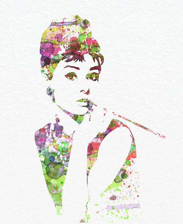 Audrey Hepburn Print featuring the painting Audrey Hepburn 2 by Naxart Studio