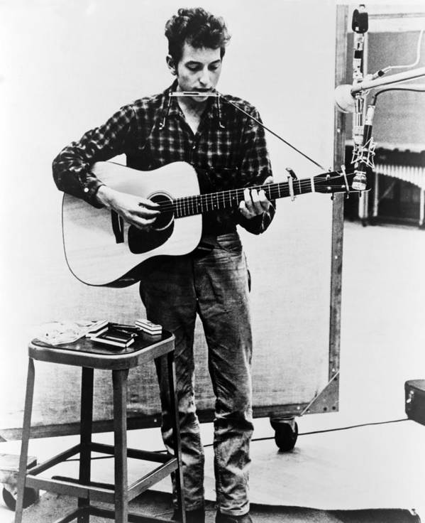 History Print featuring the photograph Bob Dylan B. 1941 Playing Guitar by Everett