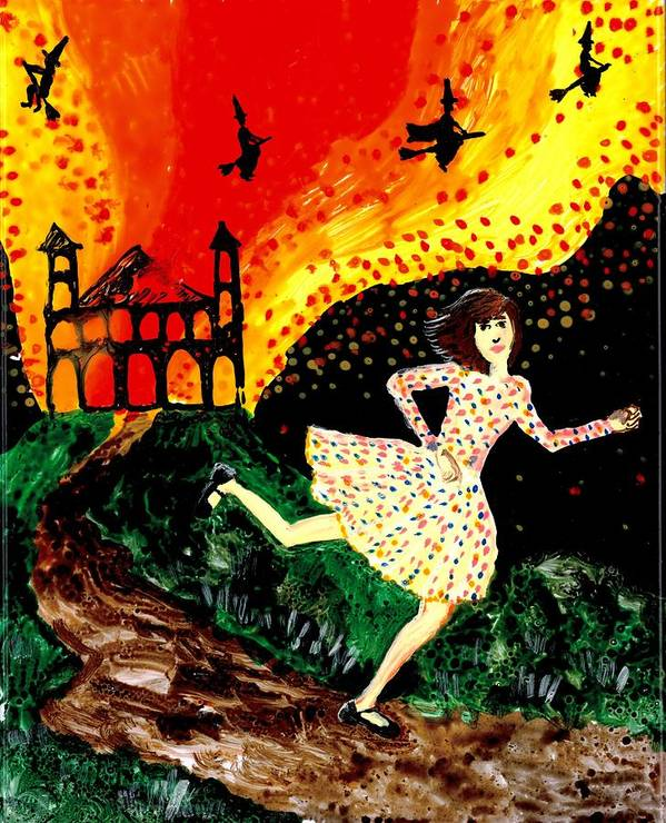 Sue Burgess Print featuring the painting Escape From The Burning House by Sushila Burgess